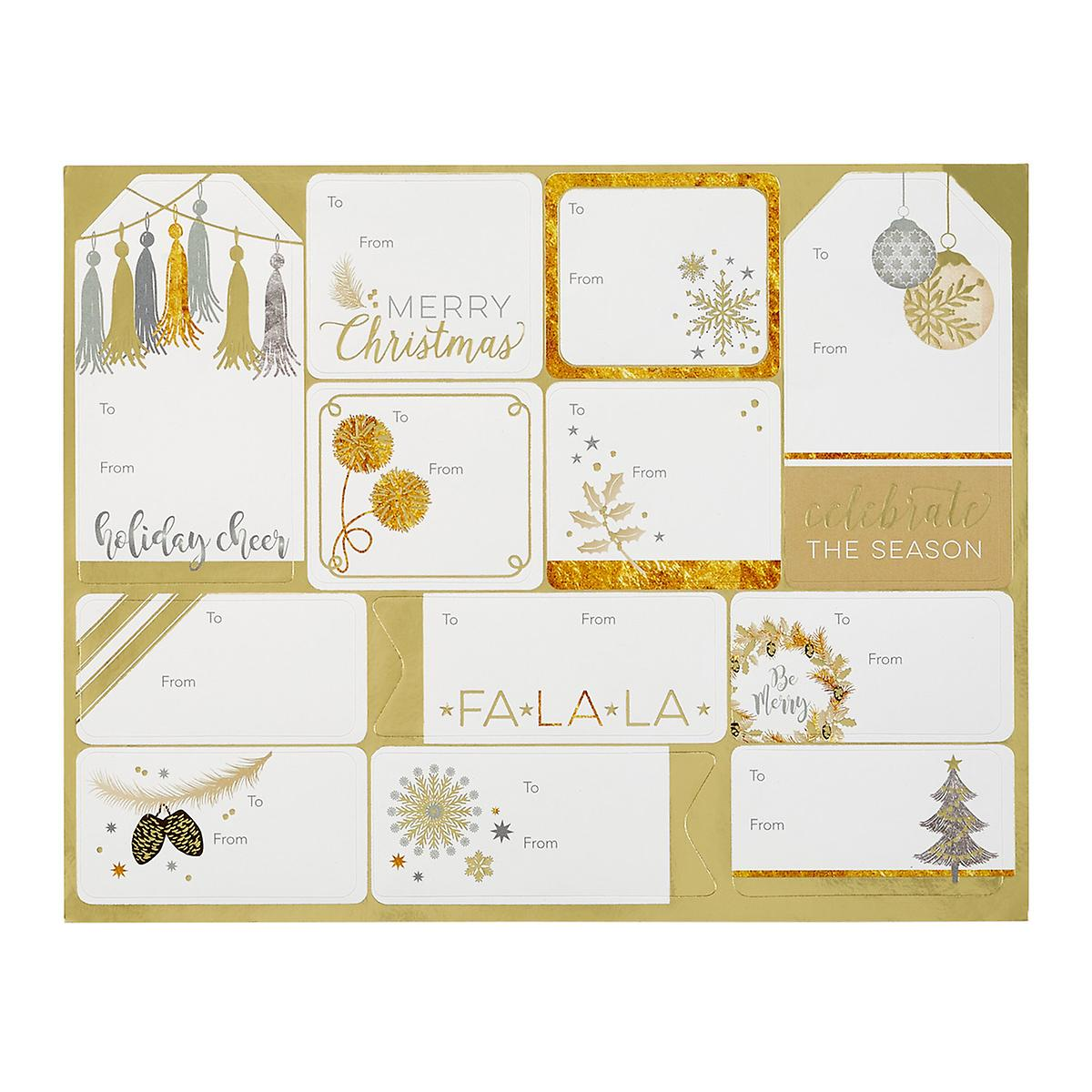 Gold Foil Adhesive Assorted Gift Labels Pack of 24