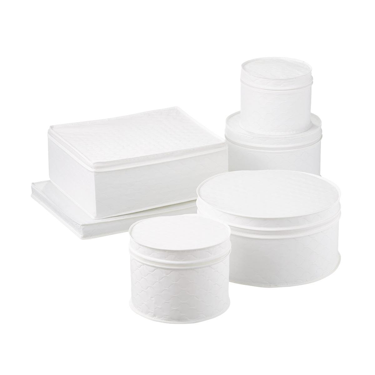 6-Piece White Quilted China Storage