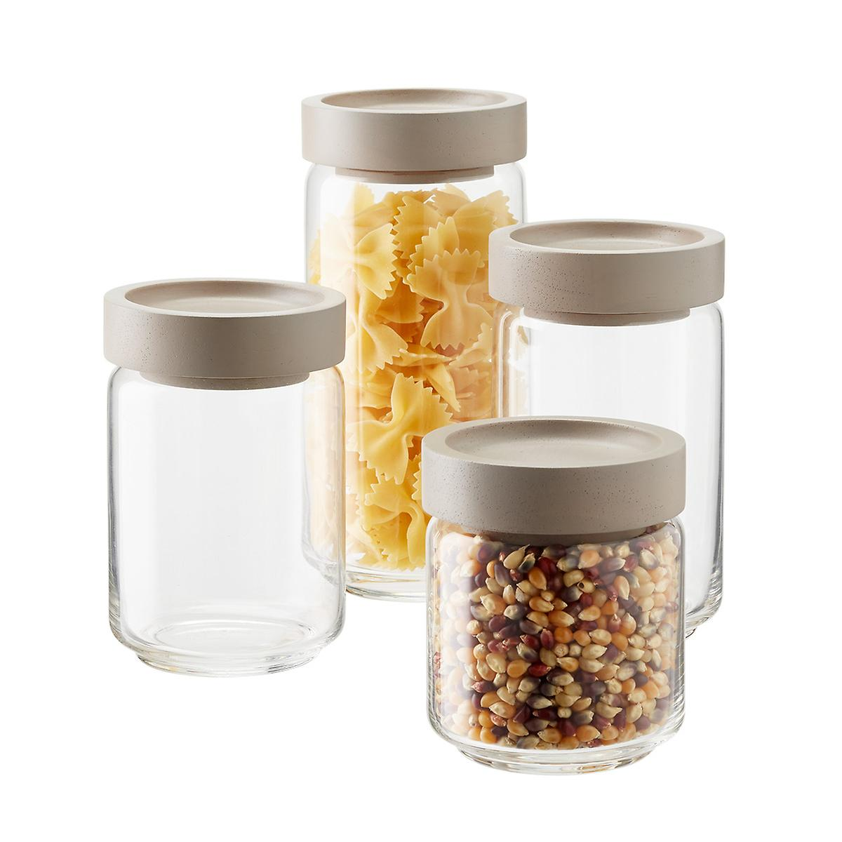 kitchen glass canisters with lids artisan glass canisters with grey lids the container store 7893