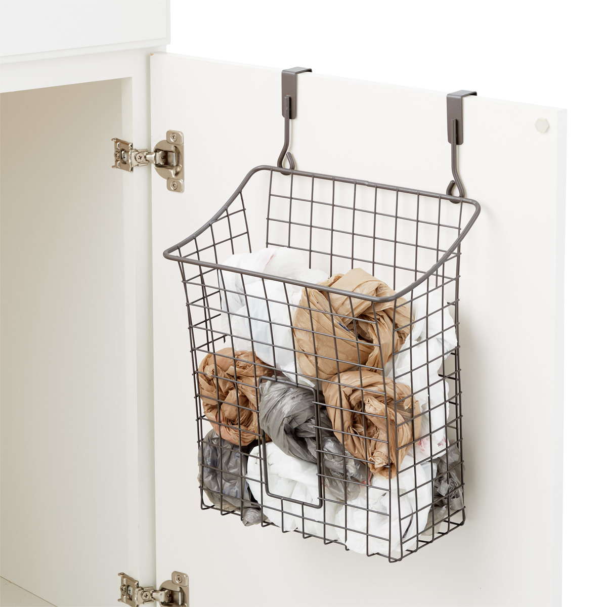 Over the Cabinet Grid Recycling Bag Holder