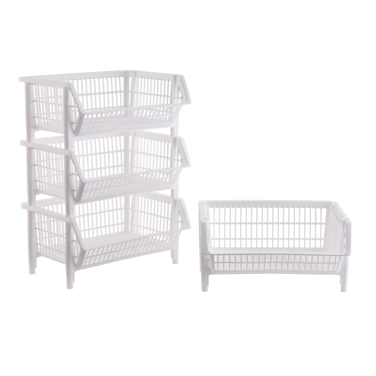 Our White Stackable Baskets Case of 4