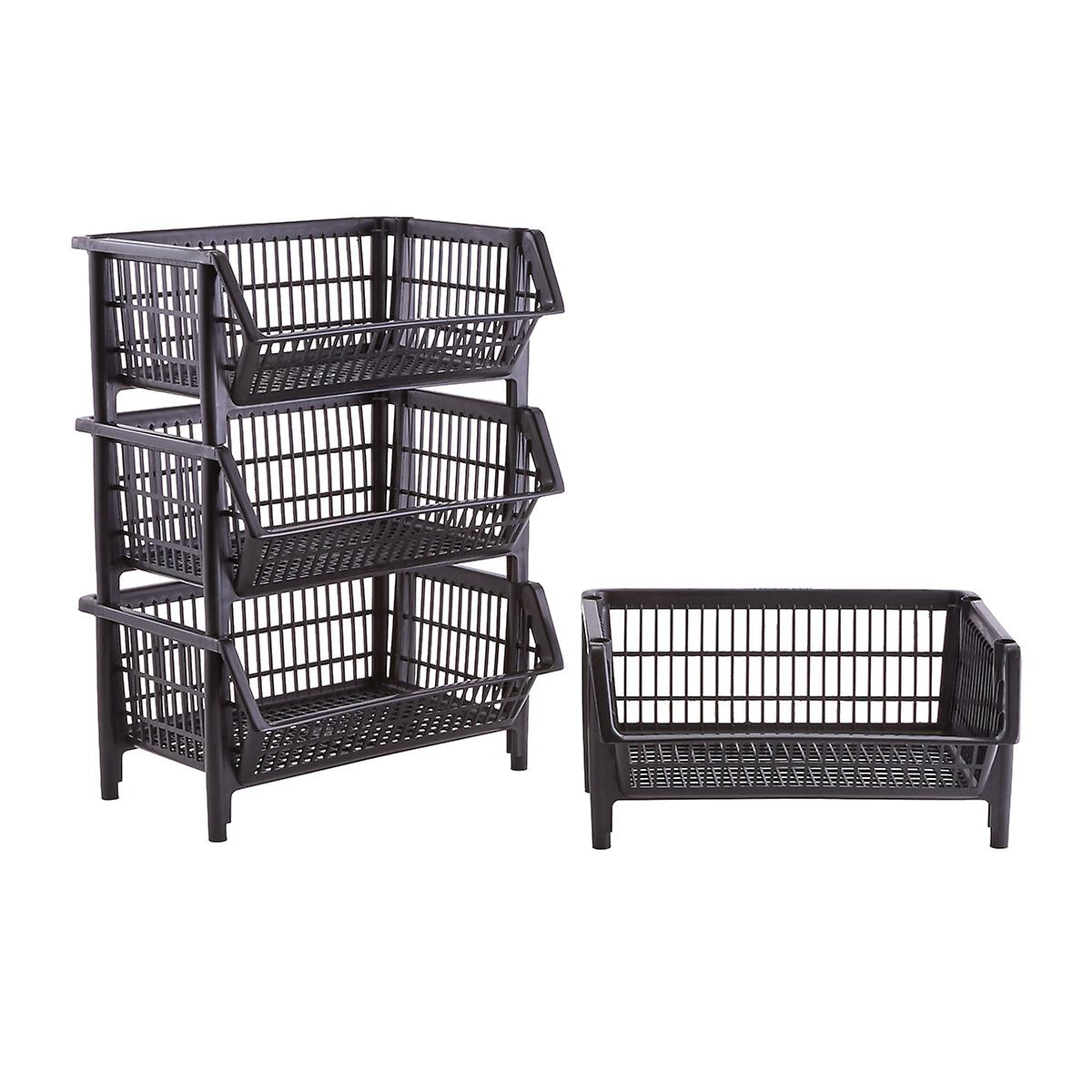 Our Black Stackable Baskets Case of 4