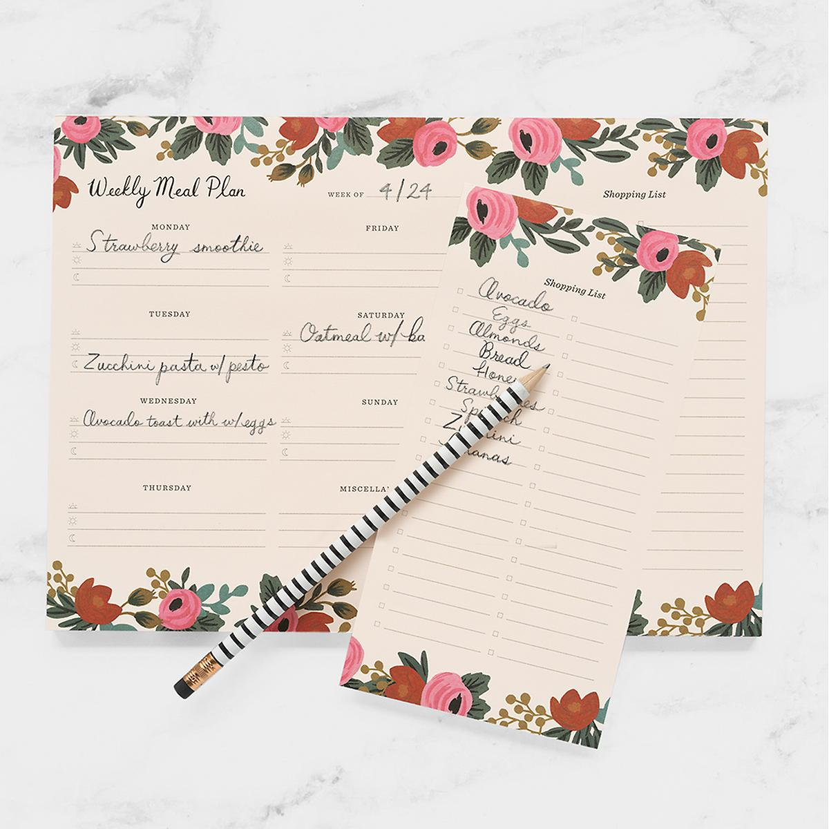 Rifle Paper Co. Rosa Weekly Meal Planner Notepad