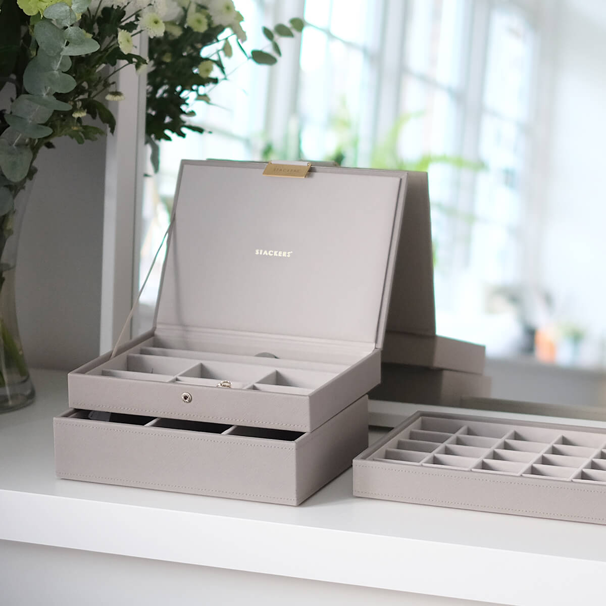 Stackers Taupe Classic Premium Stackable Jewelry Box