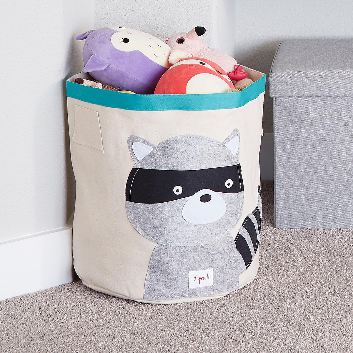 3 Sprouts Raccoon Canvas Toy Storage Bin