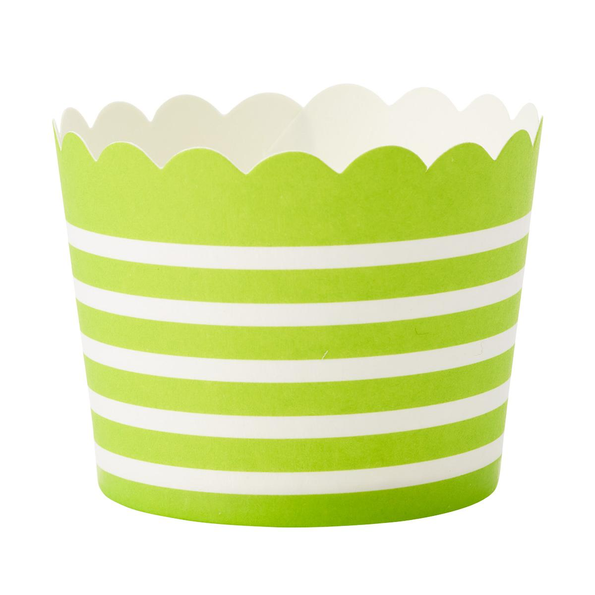 Small Horizontal Lime Stripe Baking Cups