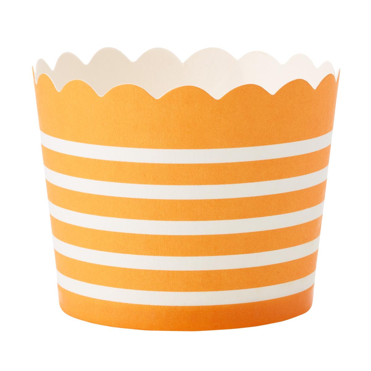 Small Orange Stripe Baking Cups
