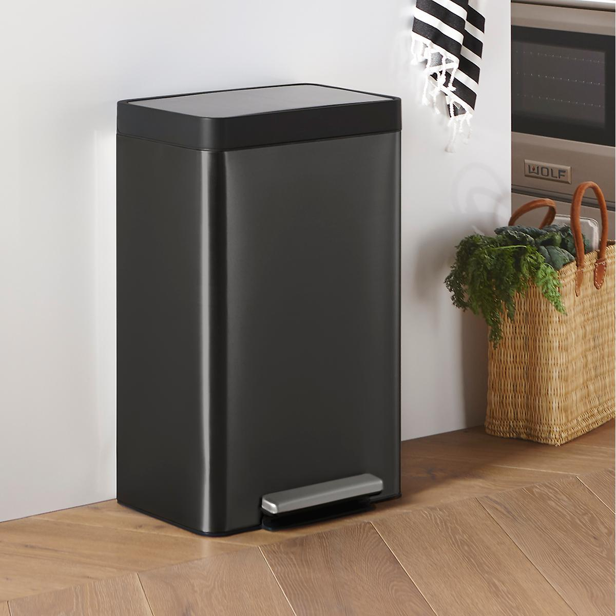 Kohler Black Stainless Steel 13 gal. Step Trash Can