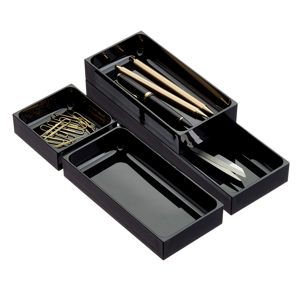 Shallow Black Stackable Drawer Organizers