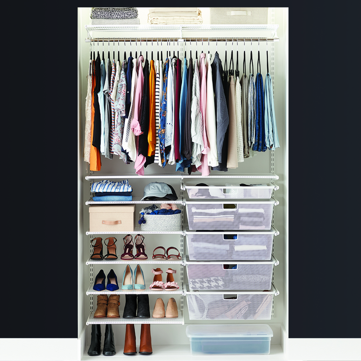 Elfa Classic 4' White Reach-In Clothes Closet