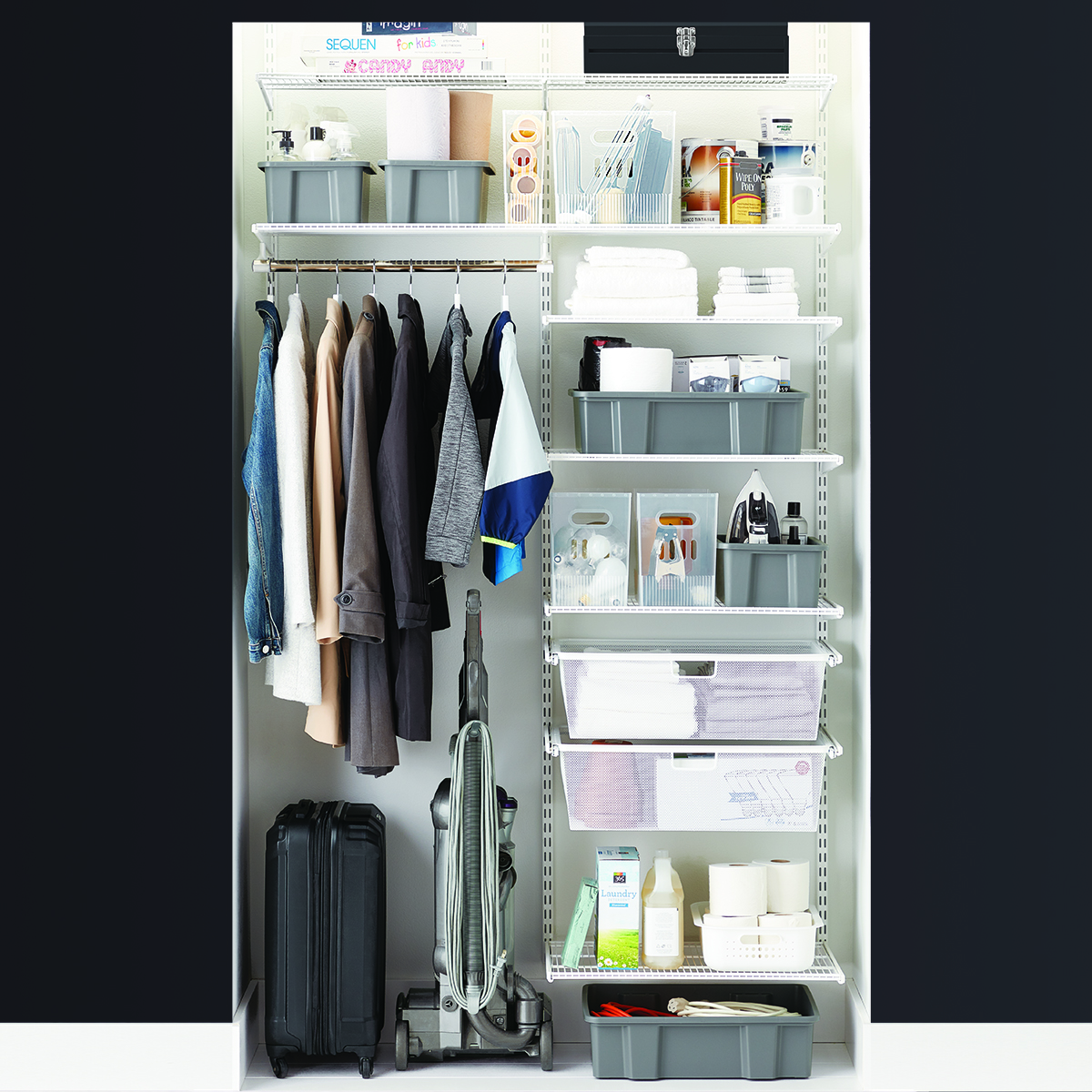 Elfa Classic 4' White Coat & Storage Closet