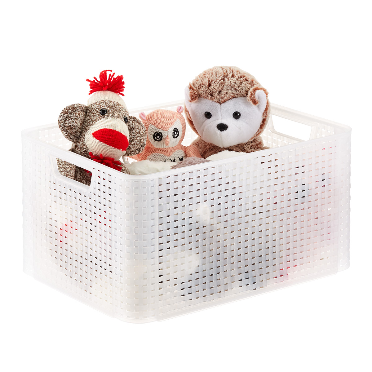Curver White Basketweave Storage Bin with Handles