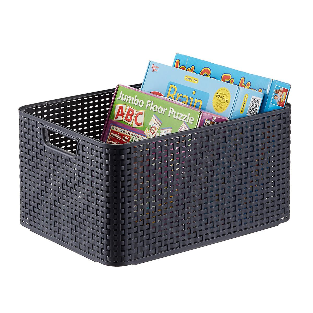 Curver Grey Basketweave Storage Bin with Handles