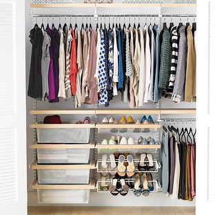 Birch & White Elfa Décor Reach-In Clothes Closet