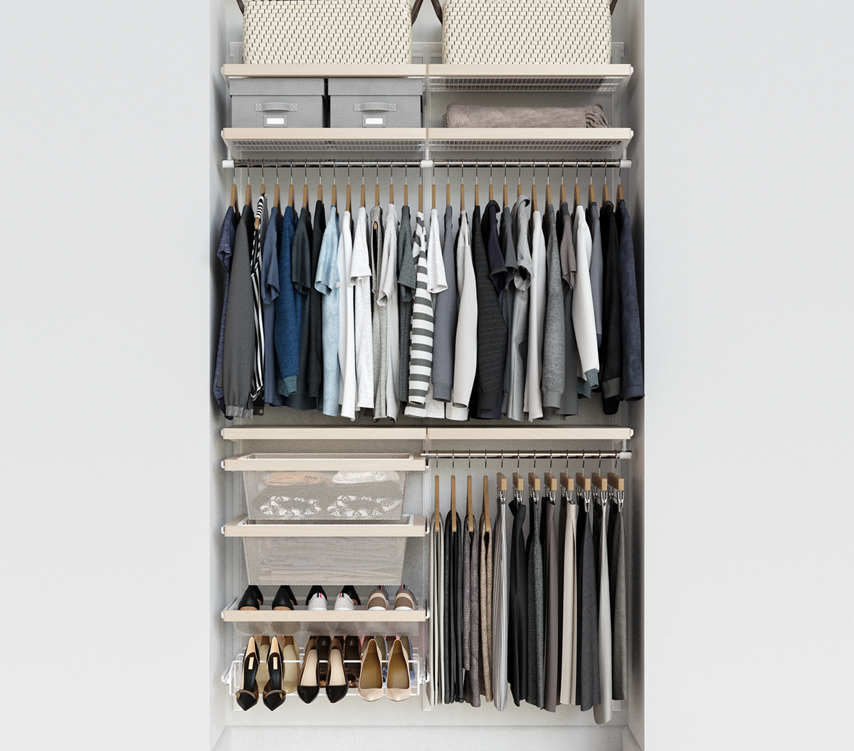 Elfa Décor 4' Birch & Platinum Reach-In Closet
