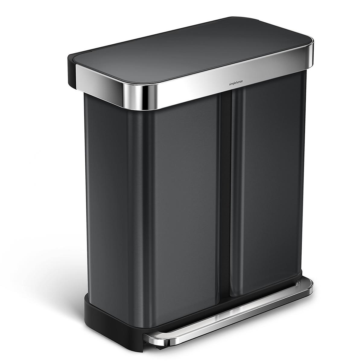 simplehuman Black 15 gal./58L Step Can Dual Recycler with Liner Pocket