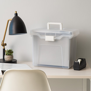 Iris Clear Letter-Size Portable File Box with Lid Organizer