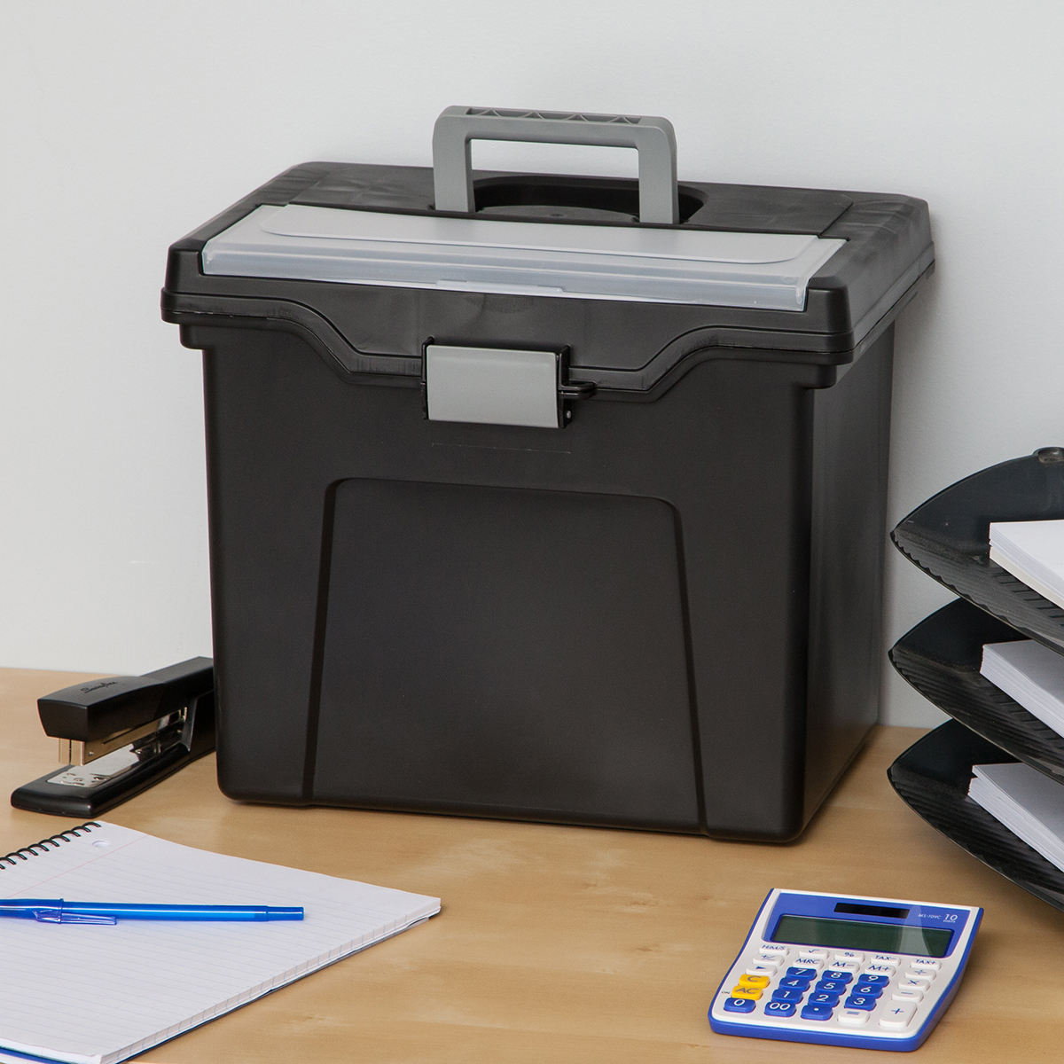 Iris Black Letter-Size Portable File Box with Lid Organizer