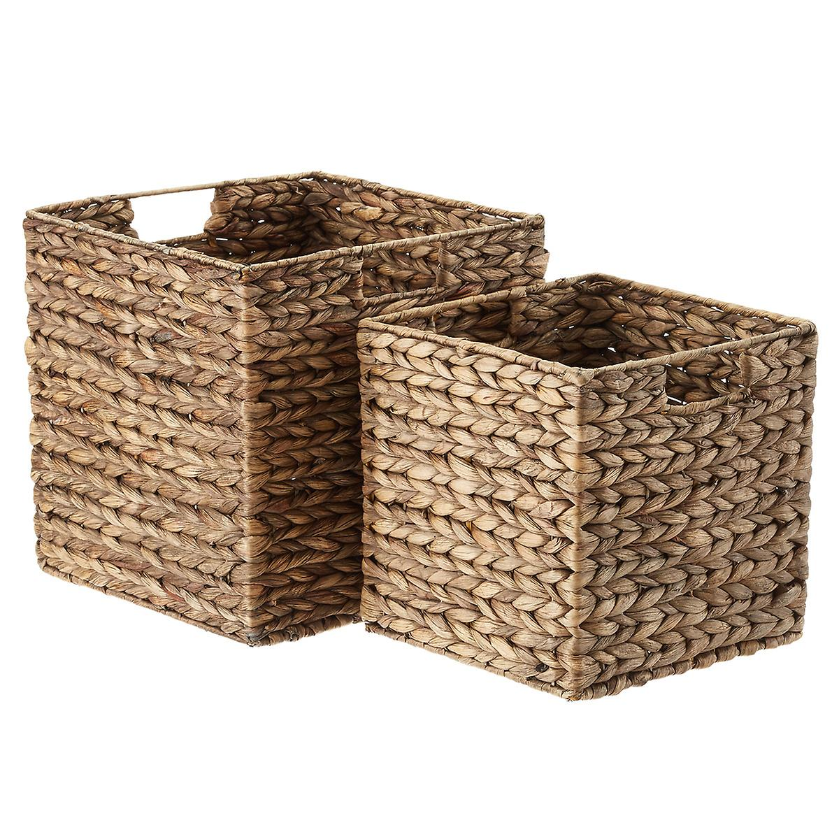 Mocha Water Hyacinth Storage Cubes with Handles