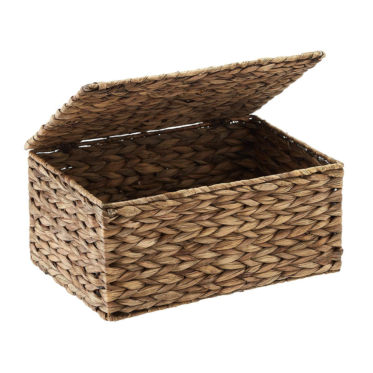 Small Mocha Water Hyacinth Storage Box with Hinged Lid