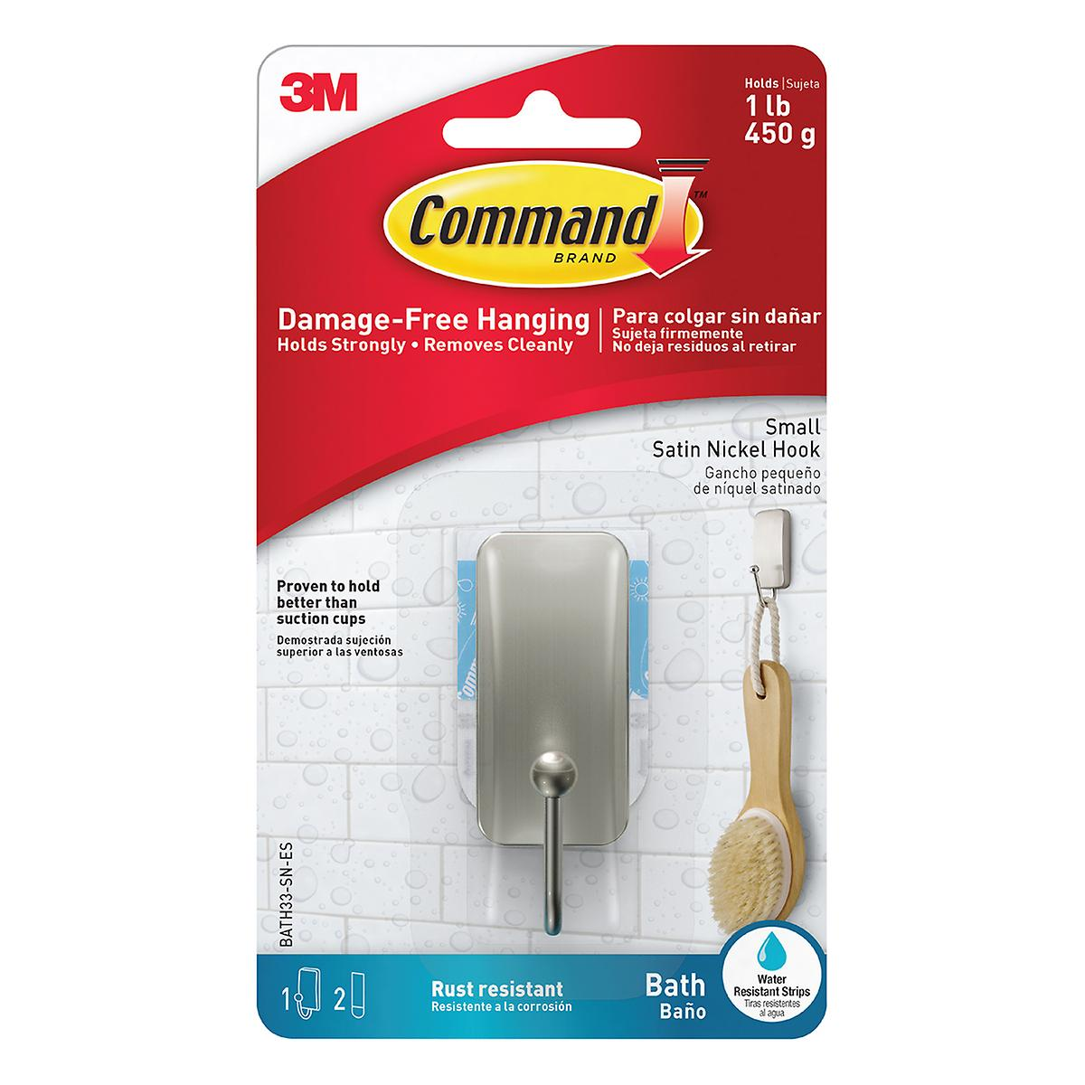 3M Command Small Satin Nickel Bath Hook