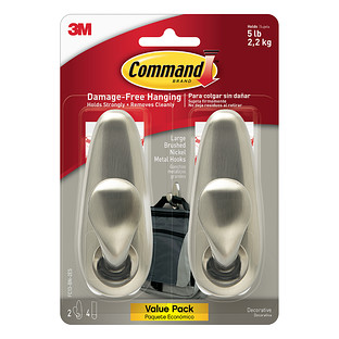 3M Command Brushed Nickel Large Metal Classic Hooks