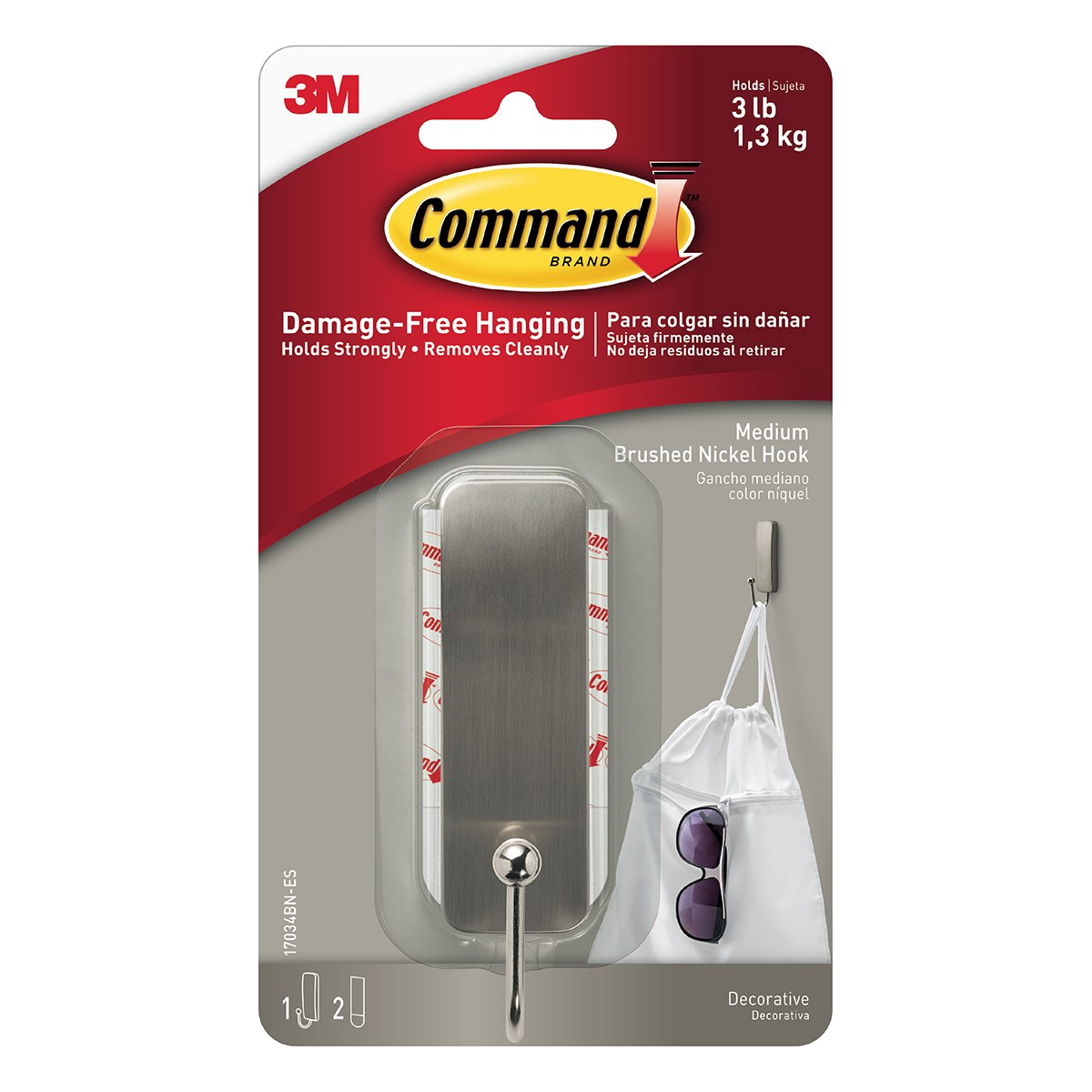 3M Command Adhesive Medium Brushed Nickel Hook