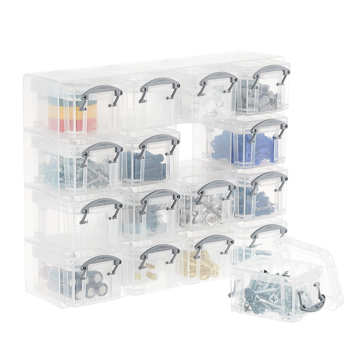 Clear 16-Latch Box Small Parts Organizer