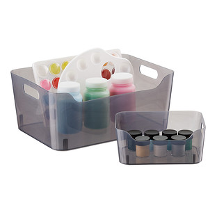 Smoke Plastic Storage Bins with Handles