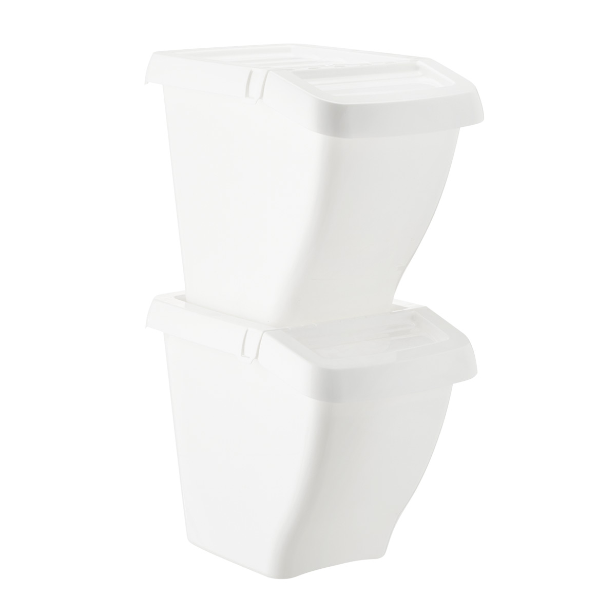 White 13 gal. Stackable Recycling Bin