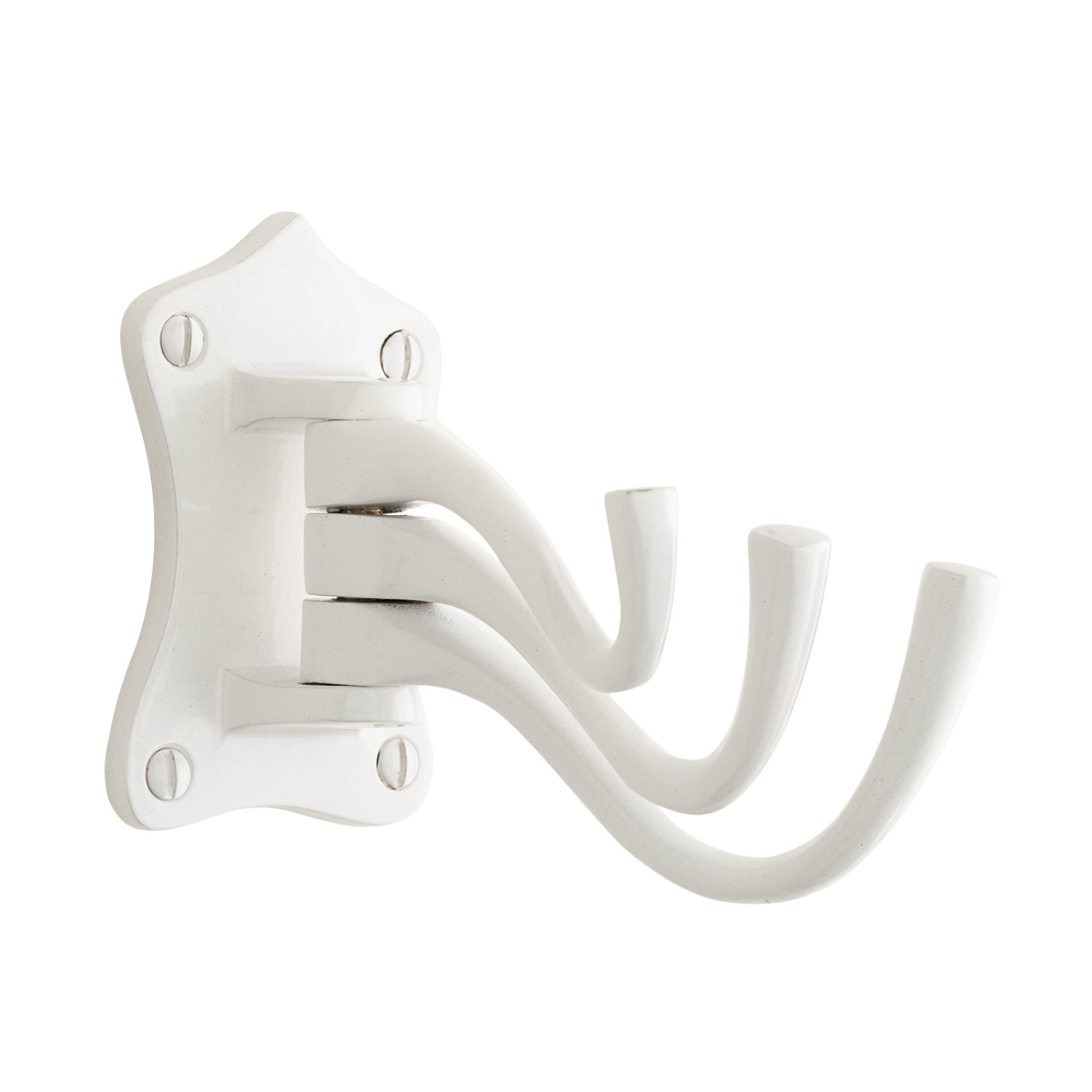 White Triple Swing-Arm Wall Hook