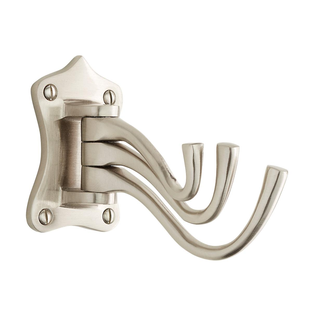 Satin Nickel Triple Swing-Arm Wall Hook