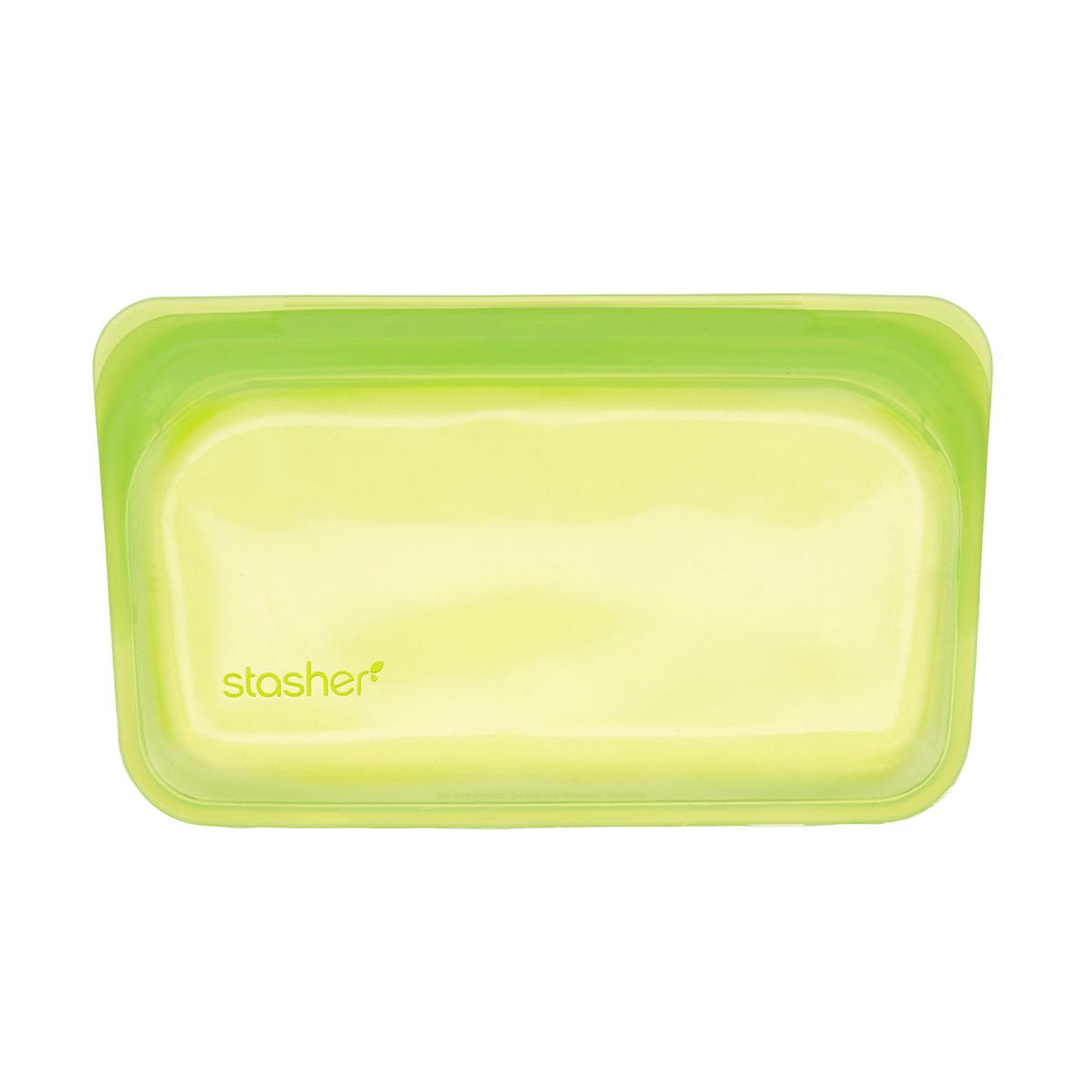 stasher silicone lime reusable storage bag the container store. Black Bedroom Furniture Sets. Home Design Ideas