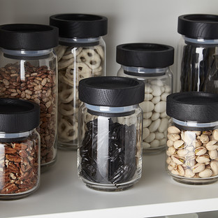Artisan Glass Canisters with Black Lids