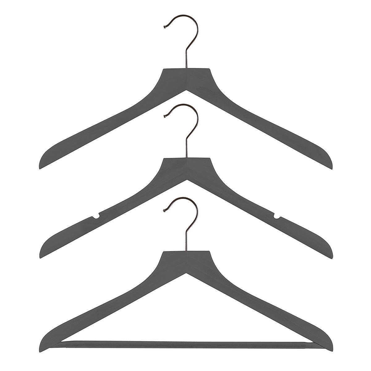 Grey Wooden Shirt & Blouse Hangers Pkg/6