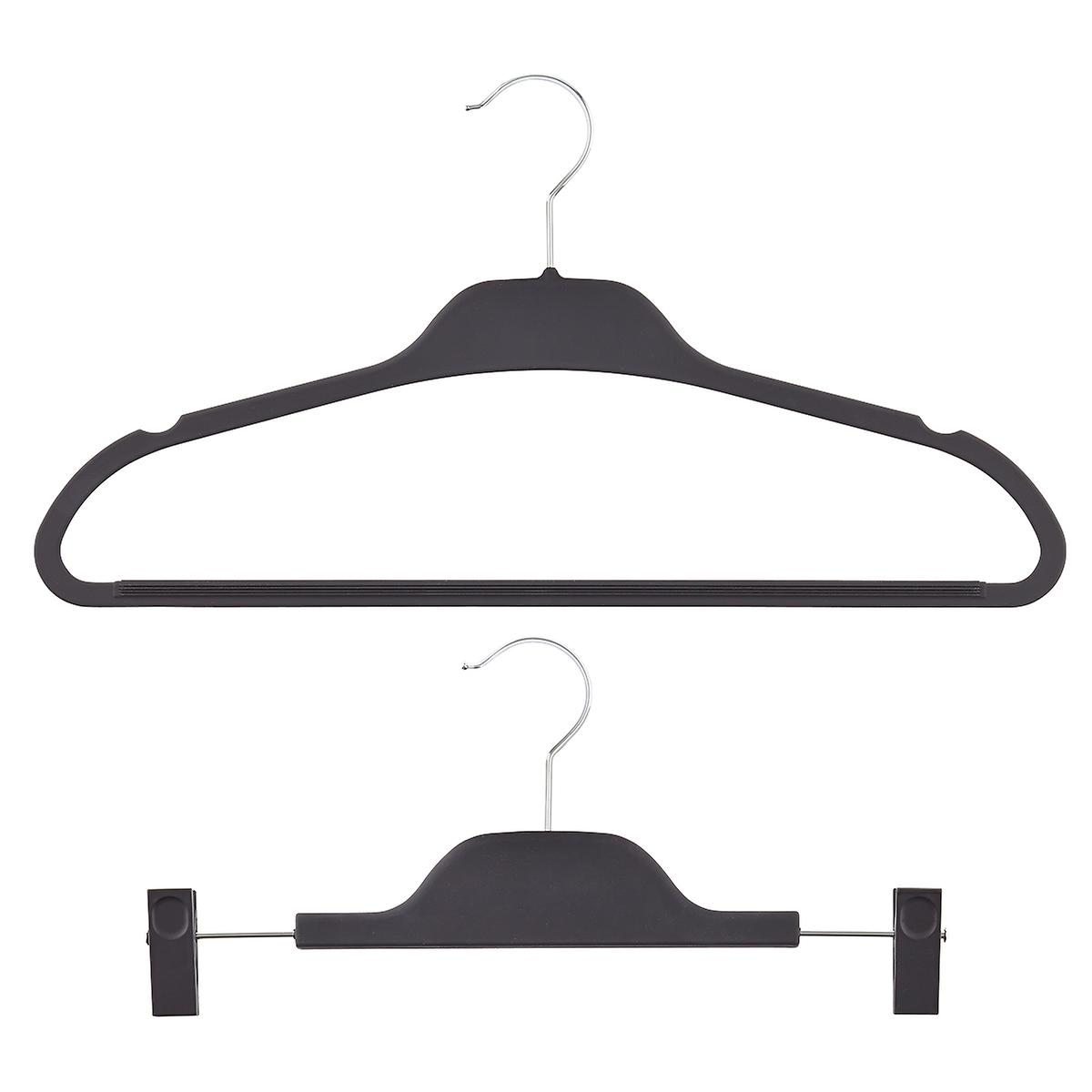 Black Non-Slip Rubberized Hangers Pkg/10