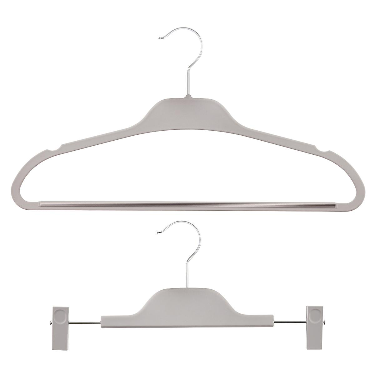 Grey Non-Slip Rubberized Hangers Pkg/10