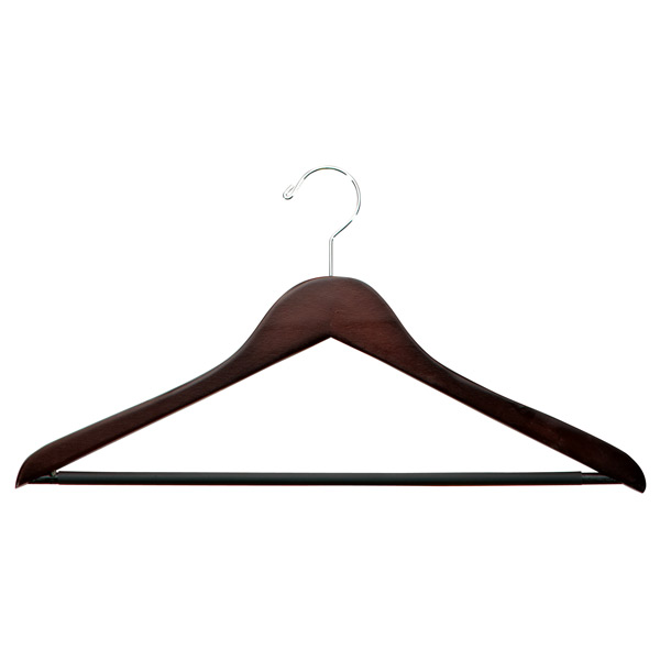 Walnut Wooden Shirt Hangers with Ribbed Bar Case of 20