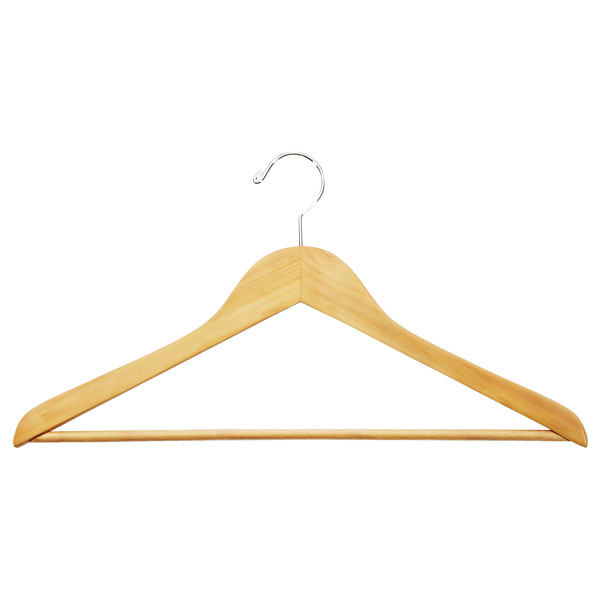 Natural Wooden Shirt Hangers with Ribbed Bar Case of 20