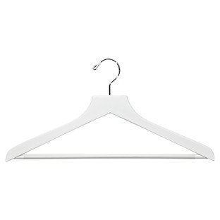 White Wooden Shirt Hangers with Ribbed Bar Case of 20