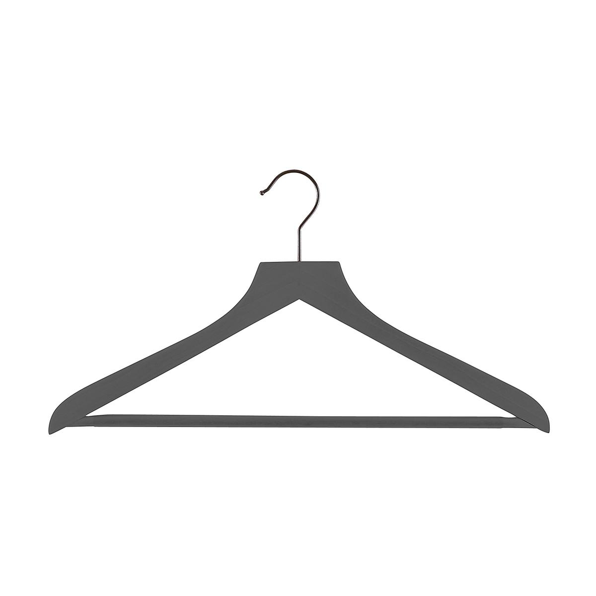 Grey Wooden Shirt Hangers with Ribbed Bar Case of 20