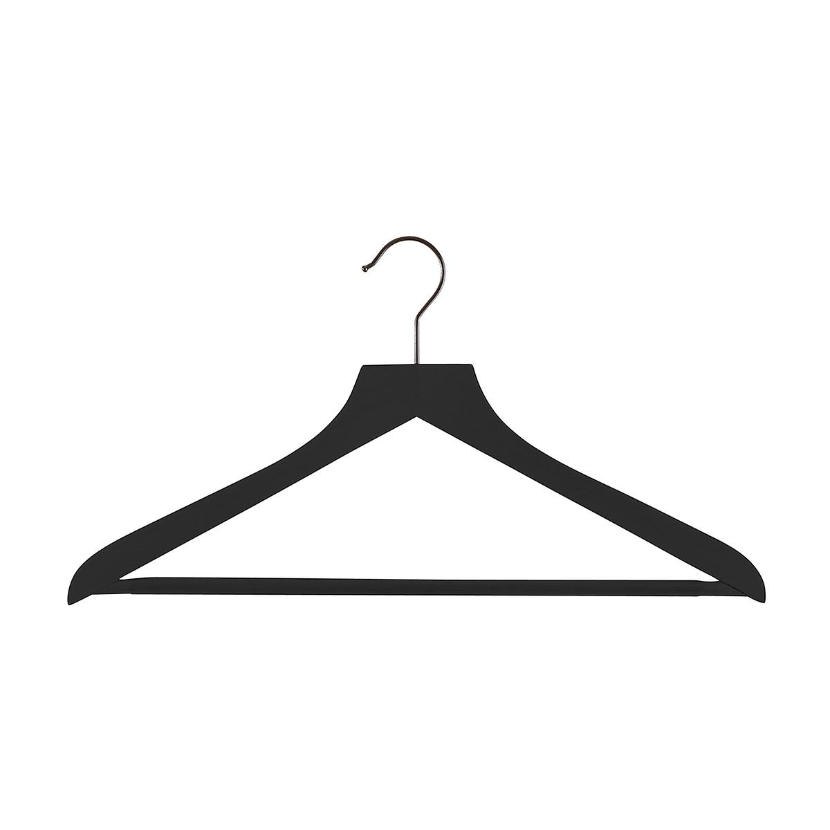 Black Wooden Shirt Hangers with Ribbed Bar Case of 20