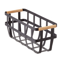 Yamazaki Black Slim Tosca Basket with Wooden Handles