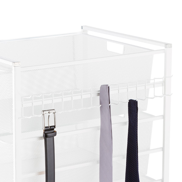 White elfa Hangmate Belt & Tie Rack