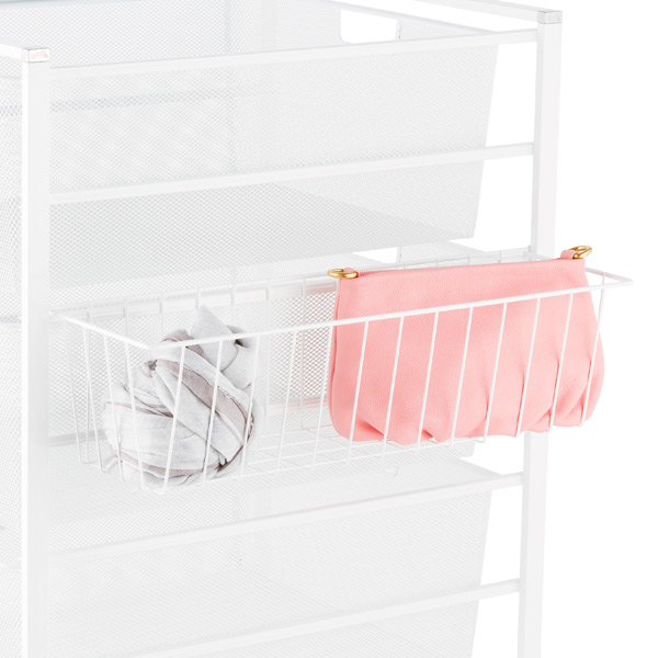 White elfa Hangmate Accessory Basket
