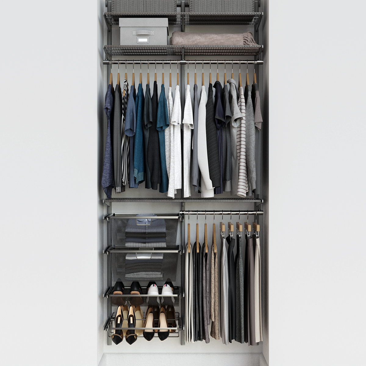 Elfa Classic 3' Platinum Reach-In Closet