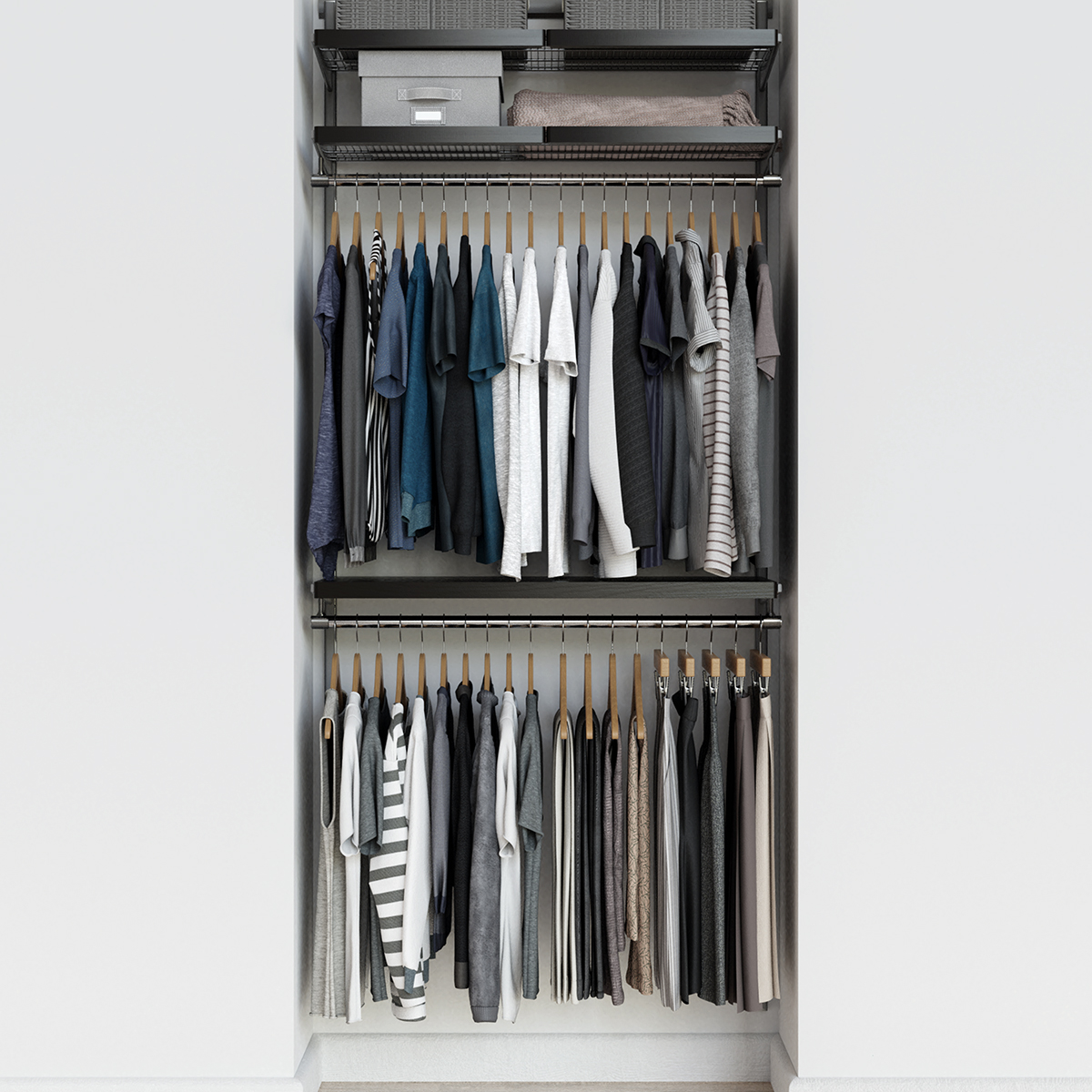 Elfa Décor 3' Walnut & Platinum Reach-In Closet