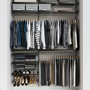 Elfa Décor 5' Platinum & Walnut Reach-In Closet