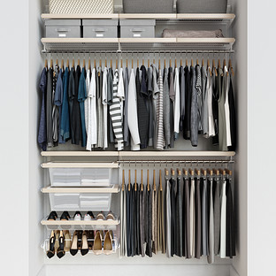 Elfa Décor 5' White & Birch Reach-In Closet