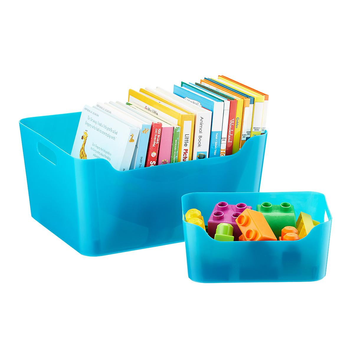 Peacock Plastic Storage Bins with Handles